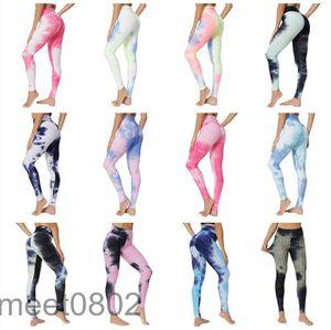 Hot selling women's 2021 Designer new Yoga jacquard tie dyeing Yoga suit fashion bubble Yoga Pants high waist hip lifting exercise Leggings