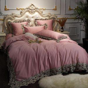 Silky 2021 Cotton Pink Bedding Set Luxury Lace Duvet Cover Bed Queen King Size Sheet Ropa De Cama linge Lit Sets