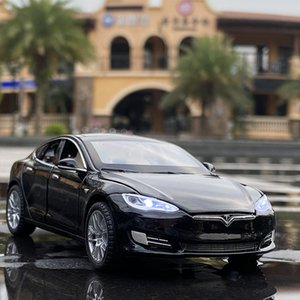 132 Model S Model 3 Model X Alloy Car Diecast Metal Vehicles Toy Car Simulation Sound and Light Kids Toy Gift