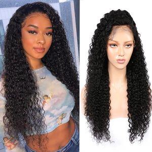 Кудрявая волна парик кружева закрытие 5x5 человеческих волос парики 100% девственные человеческие вьющиеся волосы прозрачные кружевные парики