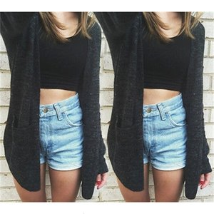 Hot Casual Women Long Sleeve Knitted Cardigan Loose Sweater Outwear Black Sweater