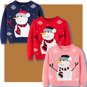 Pullover Boys And Girls Christmas Winter Sweater Cartoon Pattern Blue Red Pink Knitted 2-7 Years Old Kids Warm Clothes