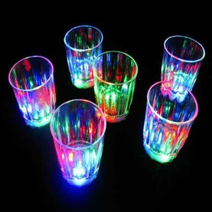 Colorful Flashing S Glass Led Plastic Luminous Cup Birthday Party Night Bar Wedding Beverage Wine flash small DBJ3 W9C2