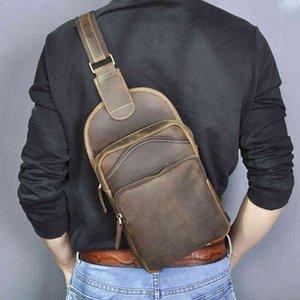 Sacos de cintura Le'aokuu Homens Crazy Cavalo Couro Casual Vintage Peito Sling Bag Design Um ombro Crossbody para Masculino 9977-D