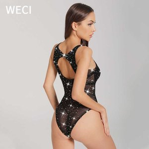 WECI Women Fishnets Sexy Shiny Crotchless Bodysuit With Rhinestone Mesh Tights Erotic Lingerie Stripper Outfit Dancewear Exotic Y0911 Y0911