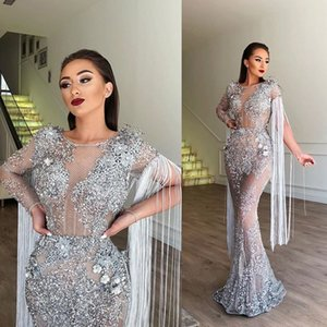 2020 Illusion Mermaid Evening Dresses Tulle Sequins Applique Rhinestone Tasse Prom Dress Long Sleeve Floor Tarin Special Occasion Dresses