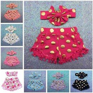 Kids Sequins Polka Dot Shorts Baby Girl Tassel Short Pants Headbands Set kids Shorts Pom Short children Shorts Leopard Outfits C268