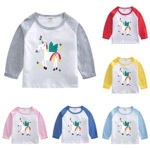 2021 Spring Autumn Children's Pullovers Long Sleeve Cartoon Printed Cotton T-shirt Girls Boys Round Neck Patchwork Hoodies Tops G4Y1RJ8
