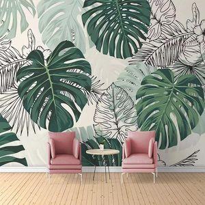 Wallpapers 3D Custom Wallpaper Modern Tropical Plant Po Wall Murals Living Room Bedroom Waterproof Canvas Home Decor Papel De Parede