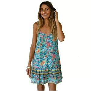 Summer Women Floral Print Boho Dress Straps Sleeveless Mini Dresses Casual Ruffle Beach Dress Size S-L