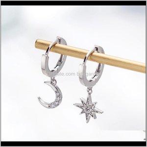 & Hie Drop Delivery 2021 Star Moon Asymmetrical 925 Sterling Sier Cubic Zirconia Hoop Earrings For Women Fashion Cz Circle Ear Ring Earings J