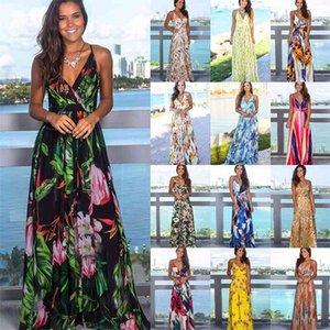 Multicolor Tropical Jungle Leaf Boho Long Dress Sling Cross Back Women V neck Party Night Elegant Sexy Maxi Summer Dresses 210409