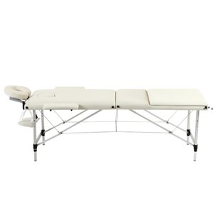 Portable SPA Bed, 3 Sections Massage Facial Beauty Furniture, Folding Aluminum Tube Adjustable Body Building Salon Table Kit by sea HHE9551