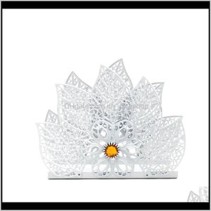Boxes Napkins Decoration Aessories Kitchen, Bar & Garden Drop Delivery 2021 Ootdty Europe White Metal Napkin Holder Paper Dispenser Tissue Ra