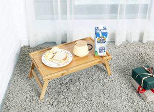 대나무 아침 식사 핸들, 접이식 다리, 노트북 책상, 소파 용 아침 트레이, 패드 스낵 책 음료 플래터와 함께 침대 트레이 테이블
