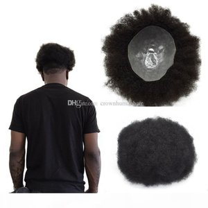 Afro Curly Mens Toupee Full Pu Curly Toupee For Men 8x10 inch Thin Skin Hairpieces Replacement Systems Indian Remy Human Hair Mens Wig