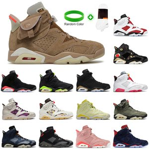 With Box Travis British Khaki 6s Basketball Shoes Jumpman 6 Carmine Infrared Midnight Navy Hare Tech Chrome Electric Green Gatorade Mens Trainers Sneakers