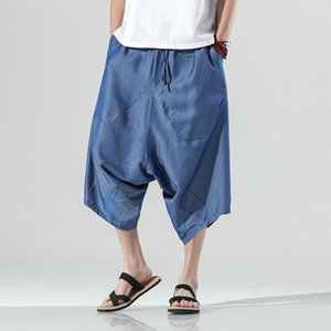 Mens Pants Silk Wide-leg Chinese Style Loose Cropped Nepal Bloomers Casual Drawstring Streetwear