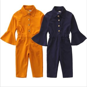 Childrens Clothing Baby Girls Pants Spring Autumn New Girls Fashion Jumpsuit Cotton Flared Sleeve Solid Color Casual Jumpsuit