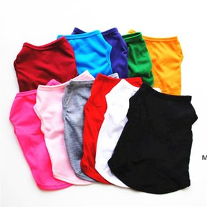 Ropa de perro Color Sólido Blanco Negro Rojo Rosa Mascotas Camisas XS -XL Puppy Summer Ropa transpirable DHA4690