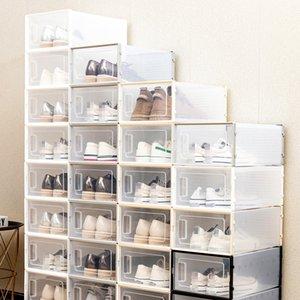 Увеличенная прозрачная коробка для обуви складной пластиковый пластик прозрачный домашний организатор штабелируемый дисплей наложенные комбинированные туфли контейнеры кабинета кабинета JY0531