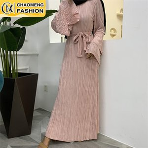 Arrival Abaya Dubai Pleated Solid Color Turkey Arabic Elbise Muslim For Women Hijab Dress Caftan Vestidos Islamic Clothing Ethnic