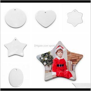 Decorations Blank White Sublimation Pendant Creative Christmas Ornaments Heat Transfer Printing Diy Ceramic Ornament Heart Round Decor Zkhgn