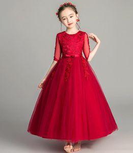 Lovely Red Tulle Applique Ankle Girl's Pageant Flower Girl Dresses Princess Party Child Skirt Custom Made