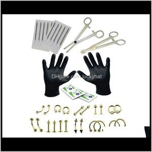 Eyebrow Drop Delivery 2021 1Set 6 Style Professional Piercing Tool Kit Sterile Belly Ring Needle Sets Cartilage Tools Body Jewelry S2Jrm