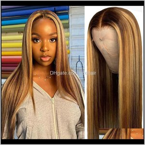 Products Drop Delivery 2021 #4 27 Highlight Pre Plucked Glueless 13X4 Lace Front Human Hair Wigs Straight Ombre Frontal Wig For Black Women I