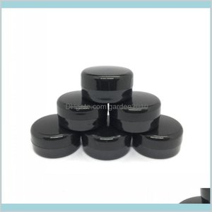 Packing Bottles & Office School Business Industrial Cosmetic Sample Empty Jar Plastic Round Pot Black Screw Cap Lid, Small Tiny 3G Bot