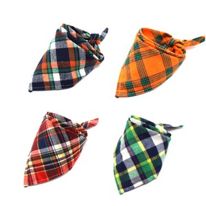 Pet Dog Bandana Small Large Dog Bibs Scarf Washable Cozy Cotton Plaid Printing Puppy Kerchief Bow Tie Pet Grooming Accessories GWE5920