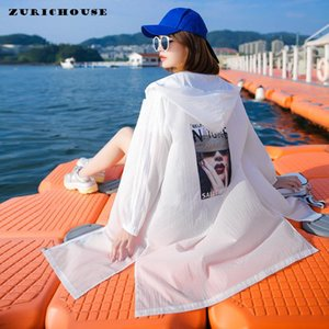 Summer Jacket Female Sun Protection Clothing Loose Casual Fashion Patch Print Hooded Long Thin Coat Women Women's Jackets