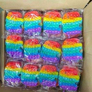 100 pcs / dhl push fidget bolha poppers placa tiktok tik tik sensor arco-íris dos desenhos animados elefante dedo bolhas do quebra-cabeça família crianças desktop brinquedos stress relevo g55fk7i