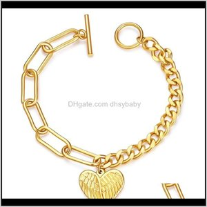 Beaded, Strands Bracelets Drop Delivery 2021 Angles Wing Charms Two Style Connector Bracelet Link Chain Jewelry Stainless Steel Material Simp