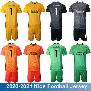 20/21 Kids Portero Fútbol Jersey Children Junior Kit England Liver Football Jerseys 20 21 # 1 Becker Keeper Boys GK Green Amarillo Uniforme rojo