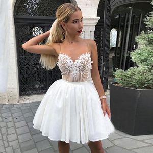 Cheap Short Prom Dress Spaghetti Strap Chiffon Lace Cocktail Dresses Mini White Homecoming Gowns Abendkleider 2021