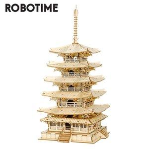 Robotime Rolife 275 Pieces DIY 3D Пять историй Пагода Деревянная головоломка Puzzle Генератор Генератор Игрушка Подарок Дети, подростки и Взрослые TGN02