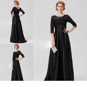 Black Lace Top A-Line Mother Of The Bride Dresses Half Sleeve Satin Beaded Plus Size Mother Of The Groom Gowns