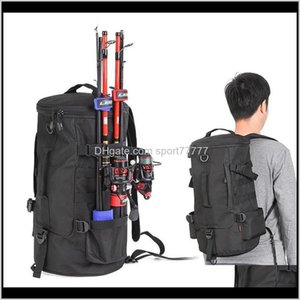 Reel Combo Sports & Outdoors Drop Delivery 2021 Rompin Portable Backpack Fishing Tackle Storage Rod Holder Tools Carrier 23L Big Capacity Mul