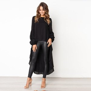 Fashion Ly Sexy Women Lantern Sleeve Asymmetrical Hem Round Neck Casual Tops Ladies Shirt Solid Color Blouse Women's Blouses & Shirts