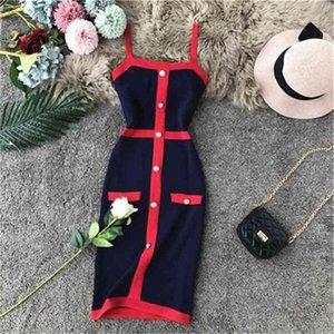 women's fashion retro elegant single breasted patchwork spaghetti strap knitted pencil color block short school girl beach dress boho