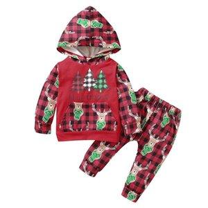 Clothing Sets 2PCS Infant Baby Set Boys Girls Autumn Winter Christmas Xmas Deer Printed Plaid Hoodie Tops Sweatshirts +Pants Outfits 3-18M