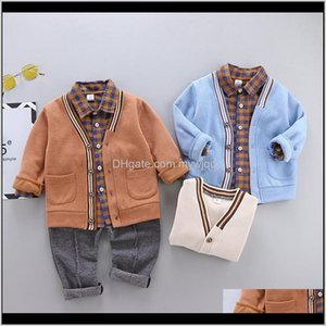 Clothing Sets Winter And Autumn Suit Korean Casual Plaid Shirt Longsleeved Knitted Jacket Boy Baby Threepiece Trend Set Jyrfm Xjtyz