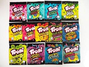 12 نوع مايلر حقيبة Trolli Trrlli Erlli Edibles Gummies التعبئة والتغليف رائحة برهان قابلة للإغلاق سستة الحقيبة 600mg مخصص شعار runtz