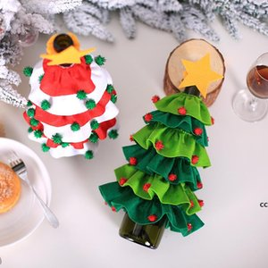 Christmas Decorations Christmas Tree Sticky Ball Red Wine Bottle Covers Mini Xmas Apron WineBottle Cover DHB10778