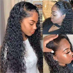 Человеческие парики для волос 28 дюймов 70 см переднего кружева синтетические длинные вьющиеся волосы
