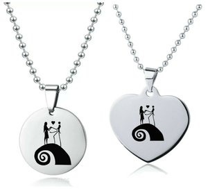 Fashion Jack And Sally Pendant Lover's Gift Stainless Steel Necklace 23' Chain