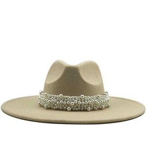 New Women Wide Brim Imitation Wool Felt Fedora Hats Simple British Style Super Big Brim Panama Hats with Pearl Belt