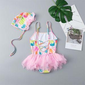 18-5y Baby Girls Swimsuit Cute Sequin Swan Print One Piece Swimwear Kids Swimsuit Hat Set Swimwear Swimming Bikini For Girl 747 Y2